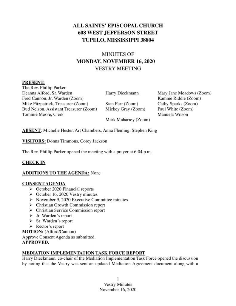 thumbnail of Vestry Minutes November 16 2020