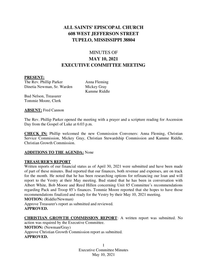 thumbnail of Executive Committee Minutes May 10 2021