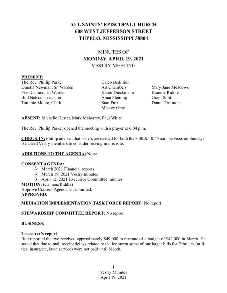 thumbnail of Vestry Minutes April 19 2021