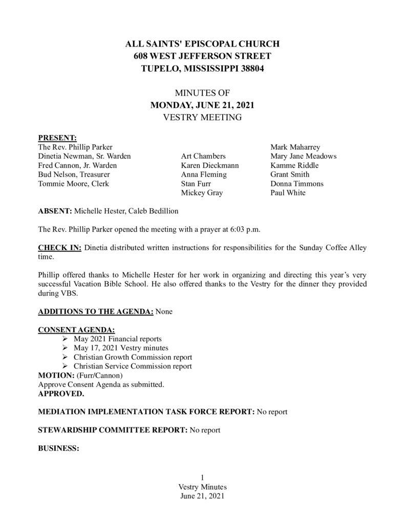 thumbnail of Vestry Minutes June 21 2021